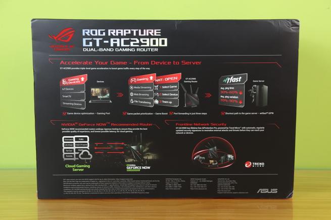 Trasera de la caja del router gaming ASUS ROG Rapture GT-AC2900 en detalle