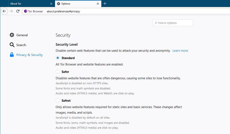 Nivel Seguridad Tor Browser