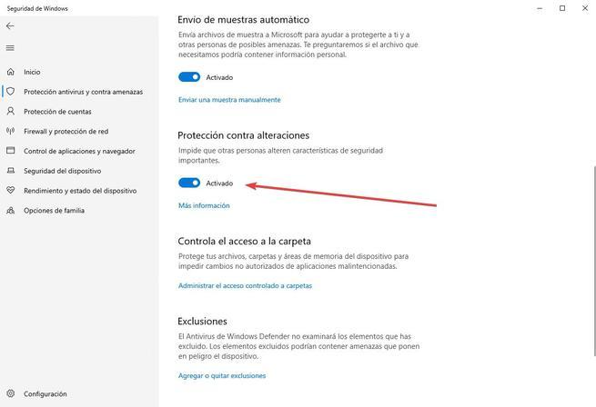 Protección contra alteraciones - Windows Defender - 3