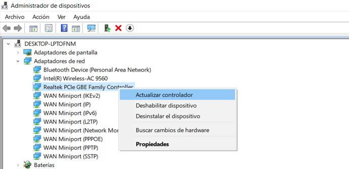 Actualizar controlador de red