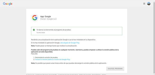 Hacerse Beta tester en Google