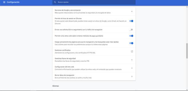 Configuración de privacidad en Google Chrome