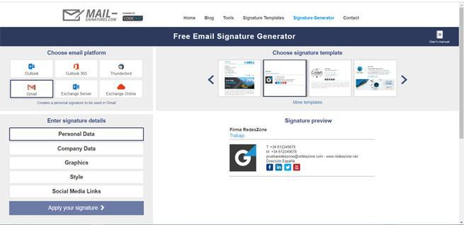 Crear firma HTML para Gmail