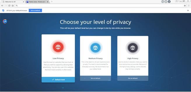 Nivel privacidad UR Browser