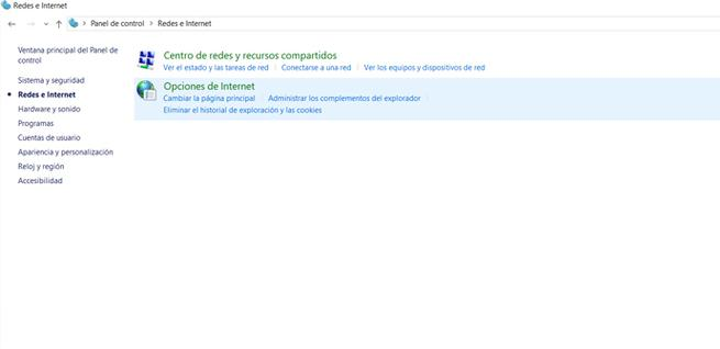 Red e Internet, en Windows 10