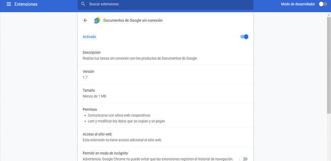 Cómo ver los permisos de las extensiones en Google Chrome