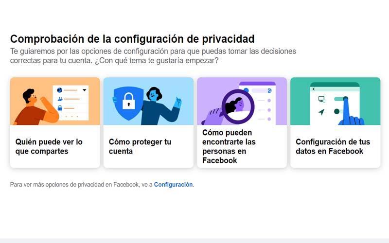 Comprobar la configuración de privacidad de Facebook