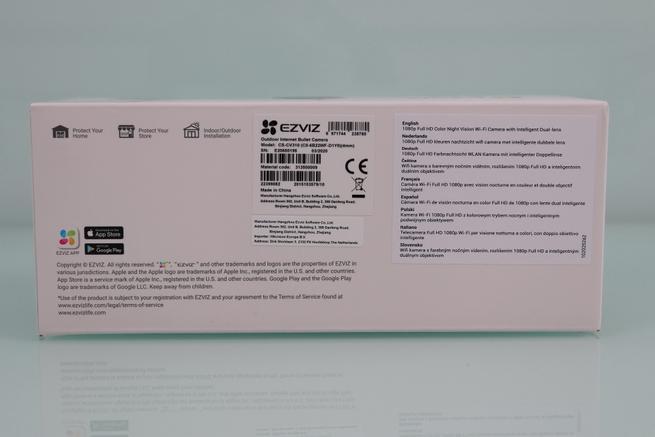 Inferior de la caja de la cámara IP EZVIZ C3X en detalle