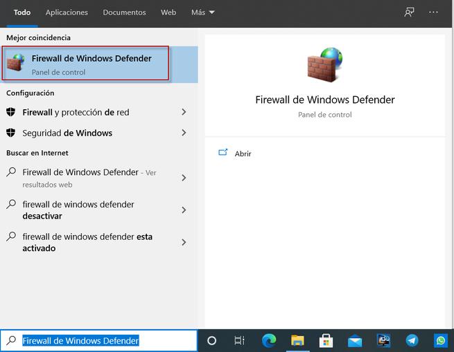 Firewall de Windows Defender