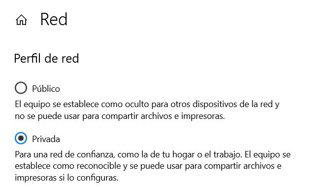 Red pública o privada en Windows 10