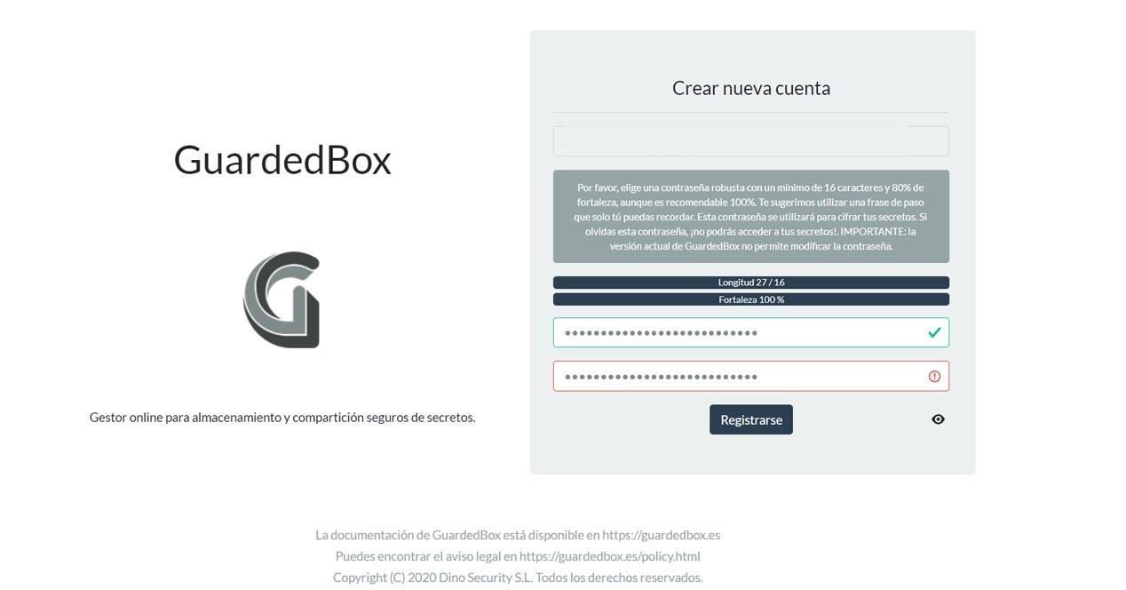 Crear cuenta en GuardedBox