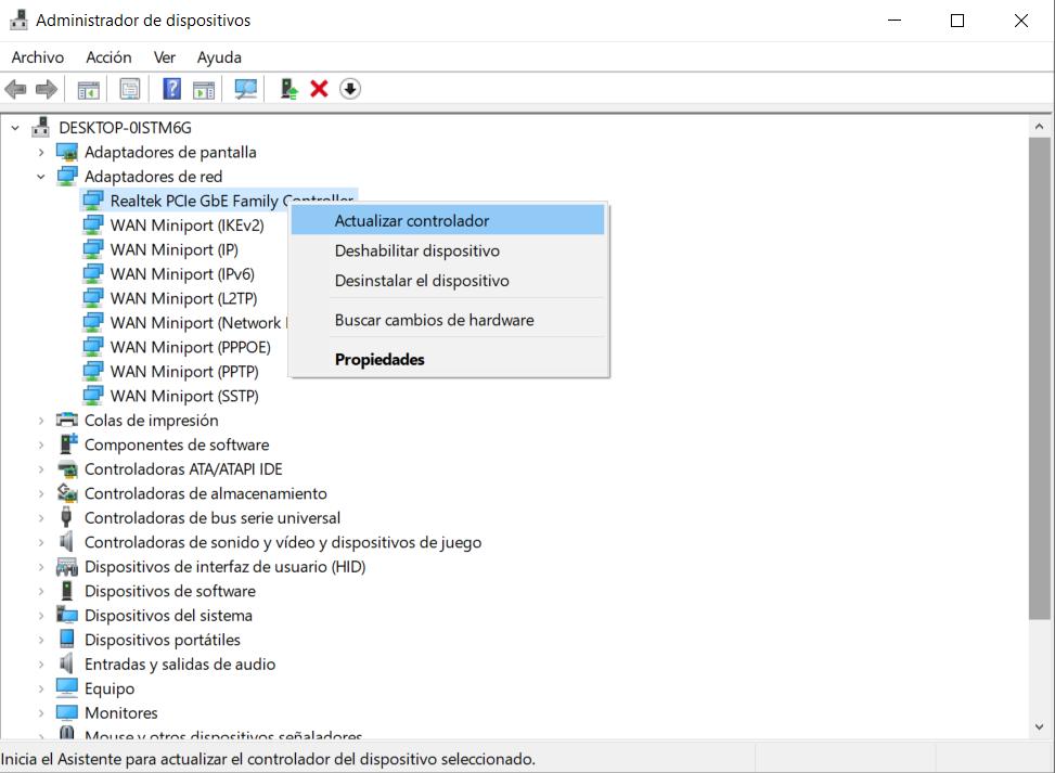 Administrador de dispositivos tarjeta de red en Windows 10