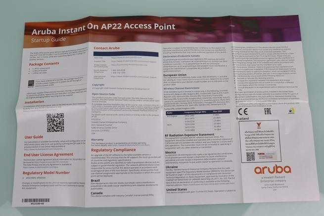 Guía de instalación rápida del AP Aruba Instant On AP22