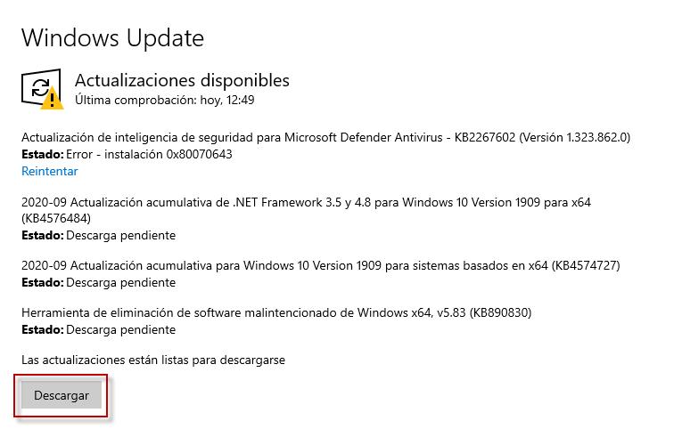 actualizaciones disponibles en Windows 10