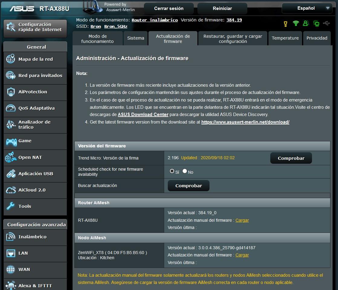 actualización de firmware de router cg6640