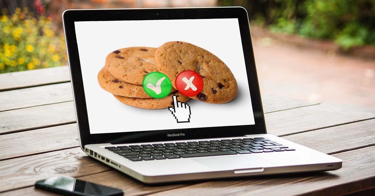 Mensaje de cookies en un sitio web