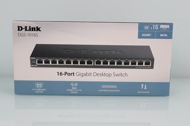 Vista frontal de la caja del switch no gestionable D-Link DGS-1016S