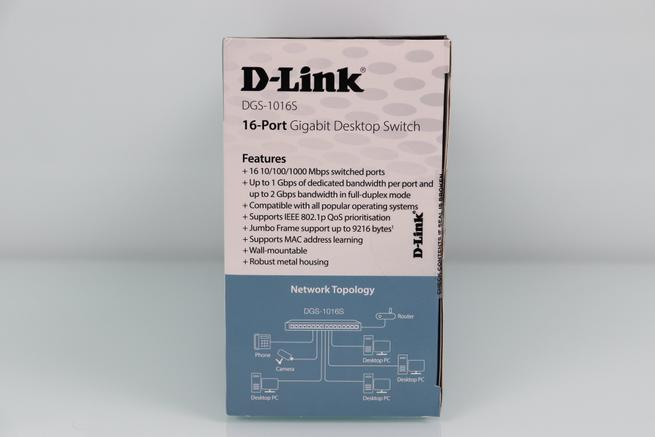 Vista del lateral derecho de la caja del switch no gestionable D-Link DGS-1016S