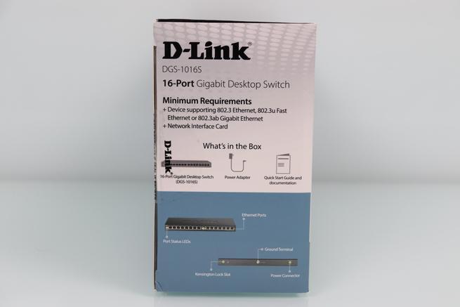 Vista del lateral izquierdo del switch no gestionable D-Link DGS-1016S en detalle