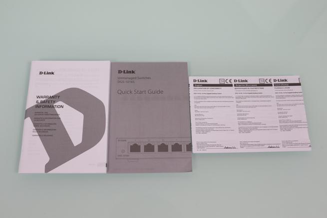 Vista de la documentación del switch no gestionable D-Link DGS-1016S