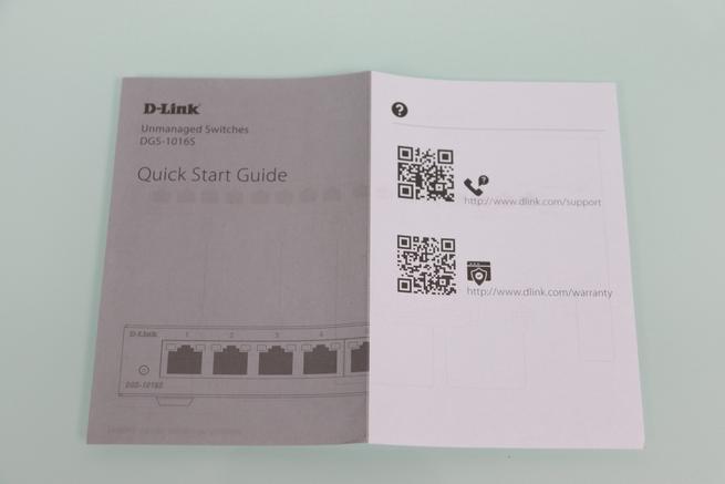 Vista de la guía de instalación rápida del switch D-Link DGS-1016S en detalle