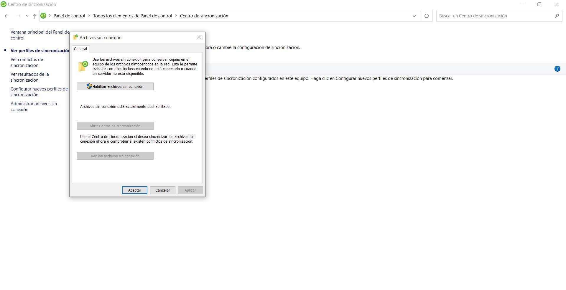 Administrar archivos sin conexión