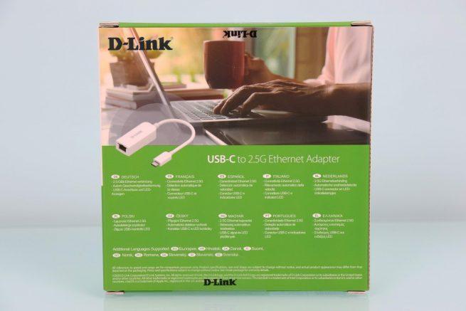 Vista trasera de la caja del adaptador 2.5G D-Link DUB-E250