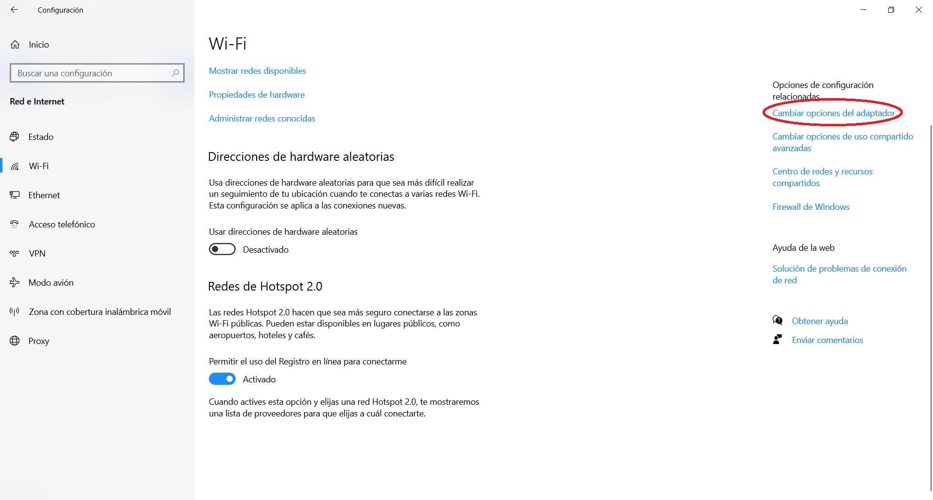 Cambiar las opciones del adaptador en Windows
