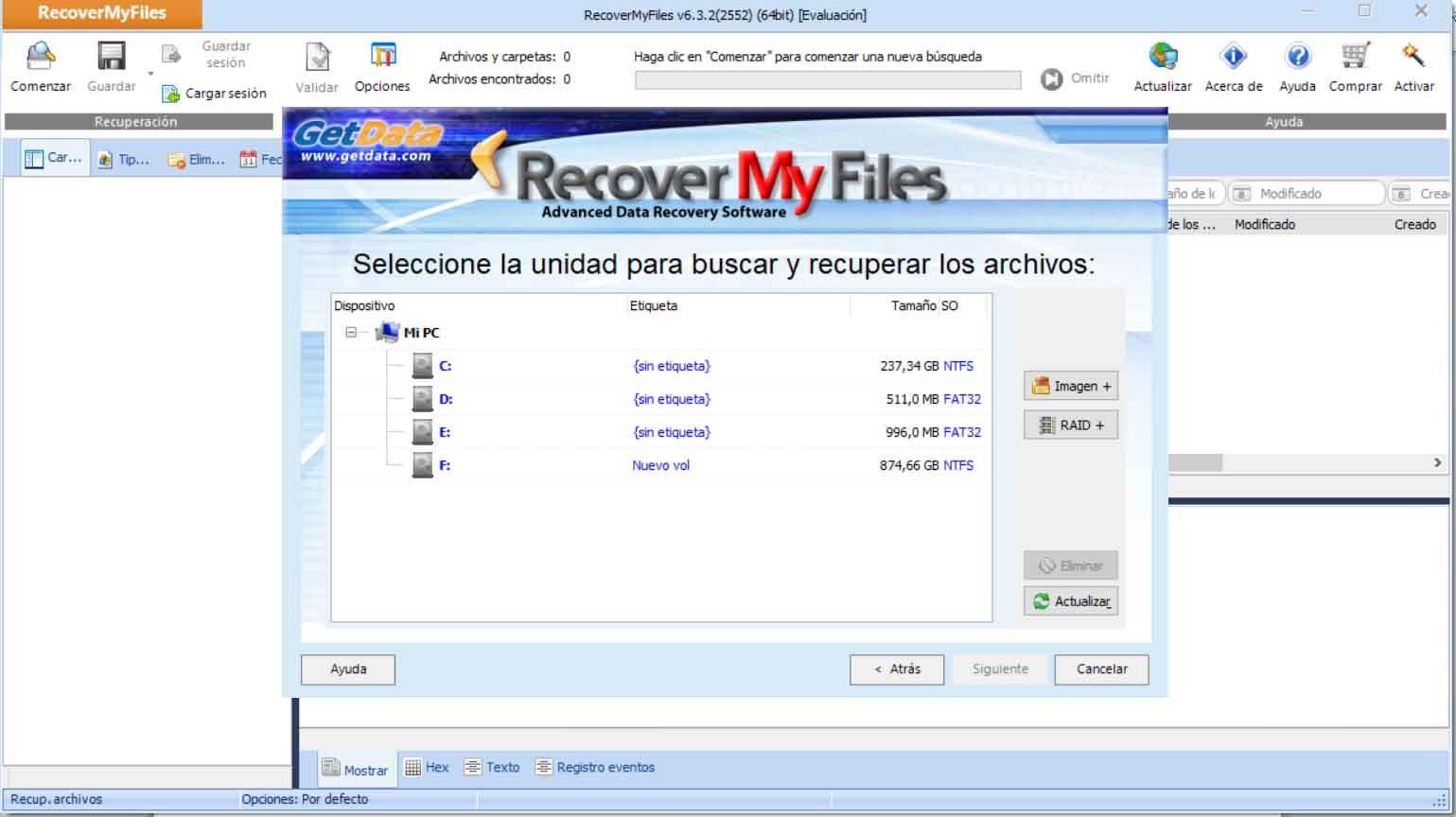 Elegir unidad para recuperar archivos en Windows