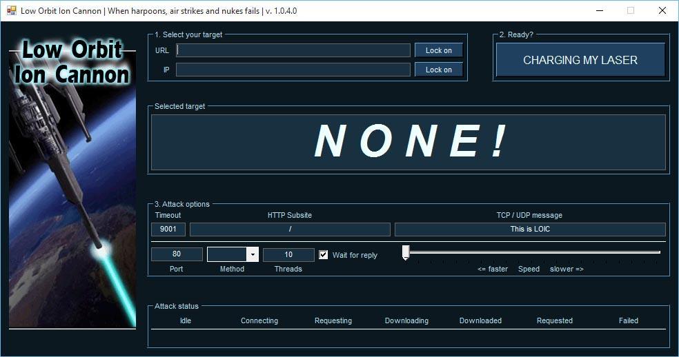 Simular ataques DDoS con LOIC