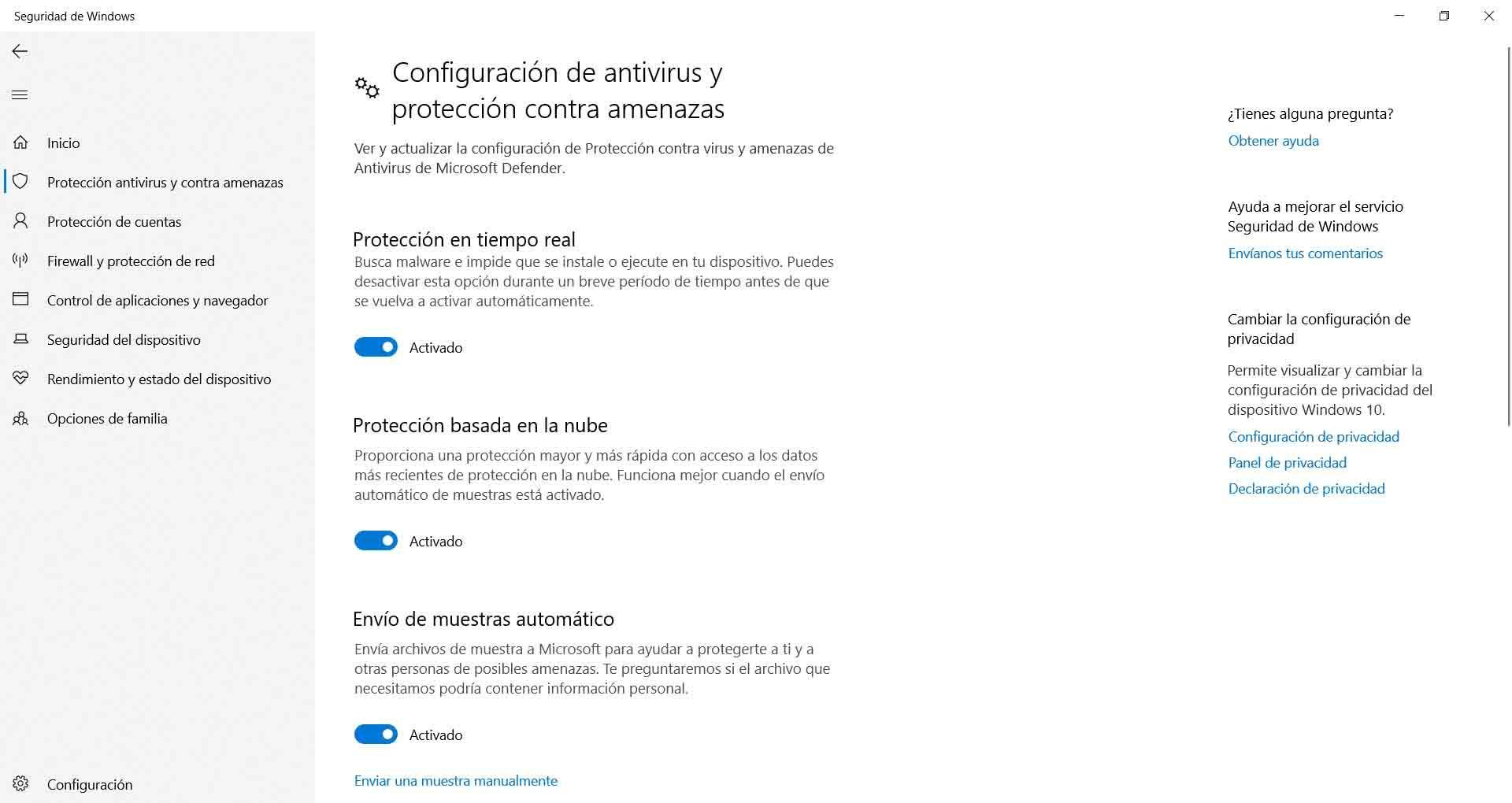 Protección en tiempo real de Windows Defender