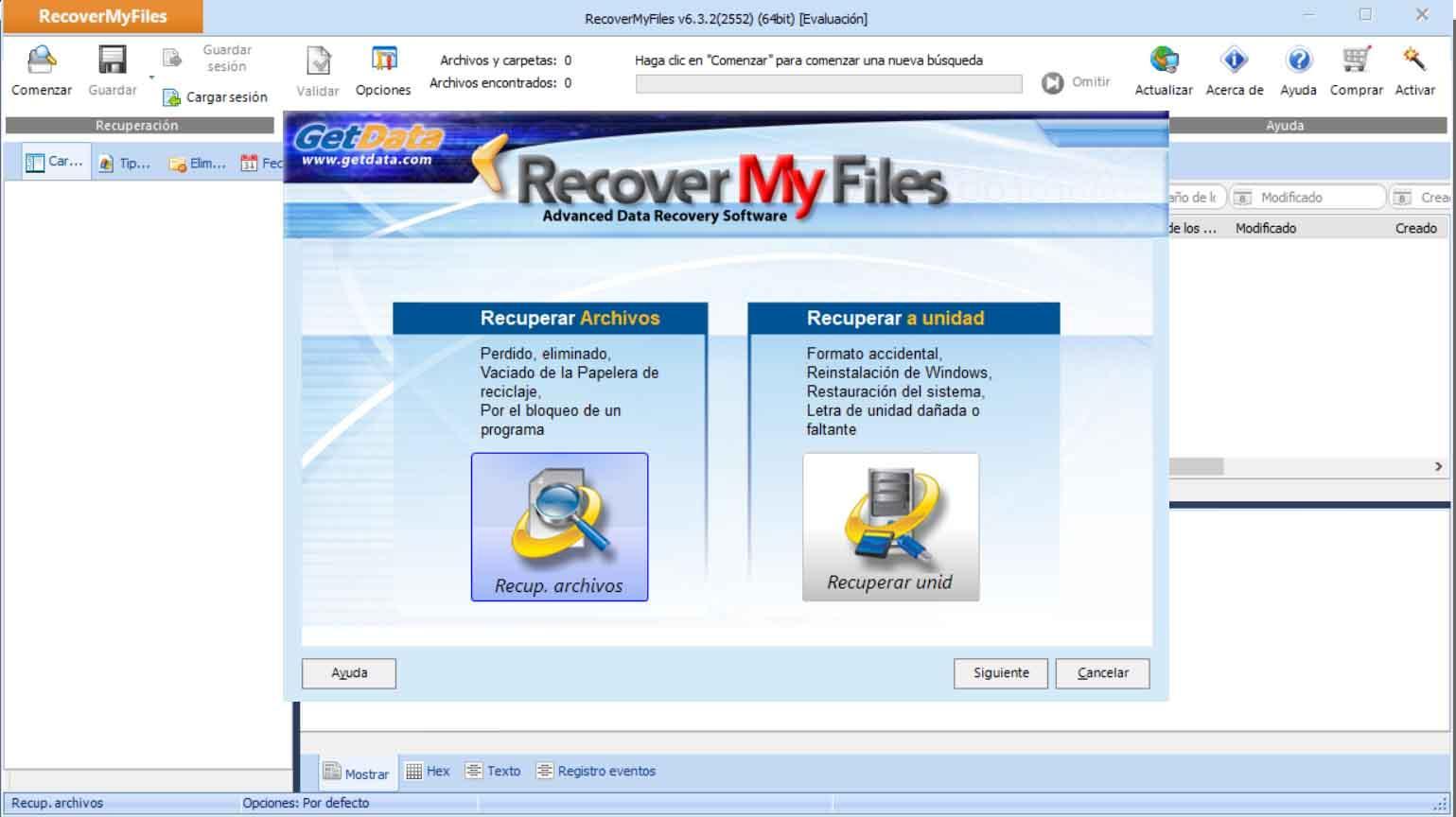 Instalación de Recover My Files