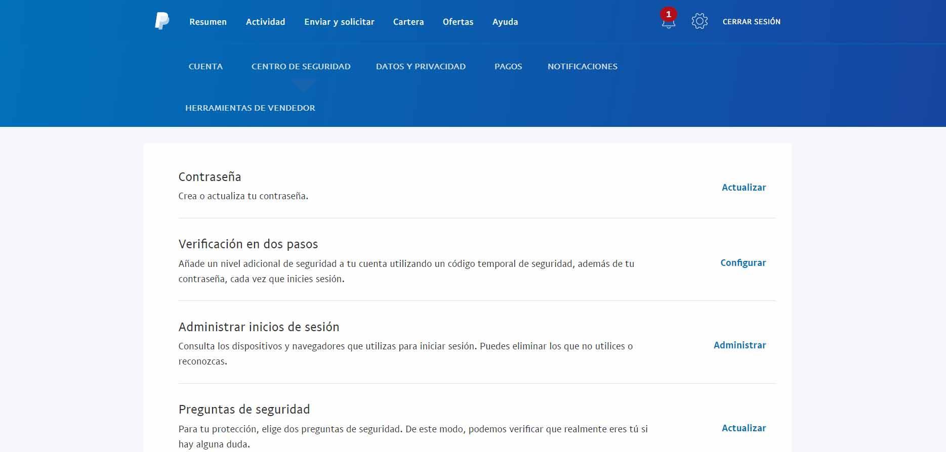 Verificación en dos pasos en PayPal