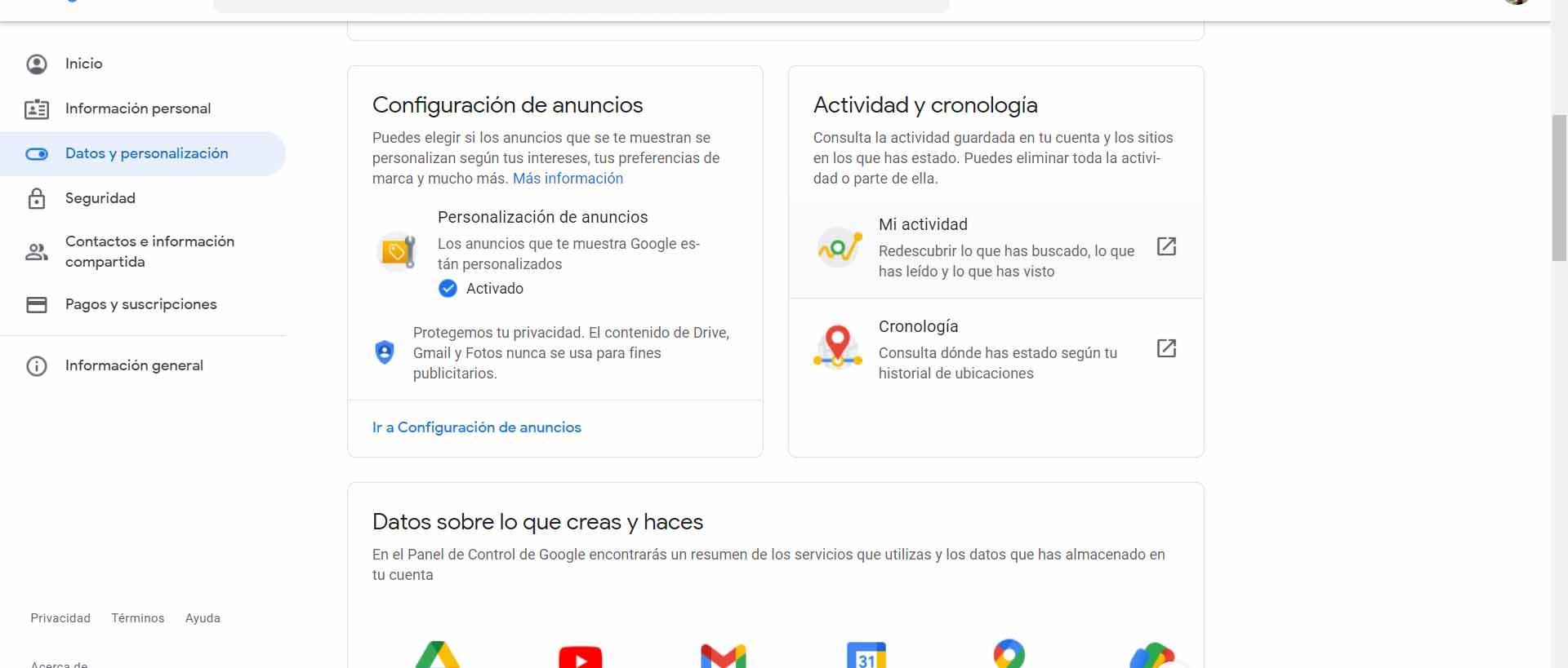 Actividad y cronología de Google
