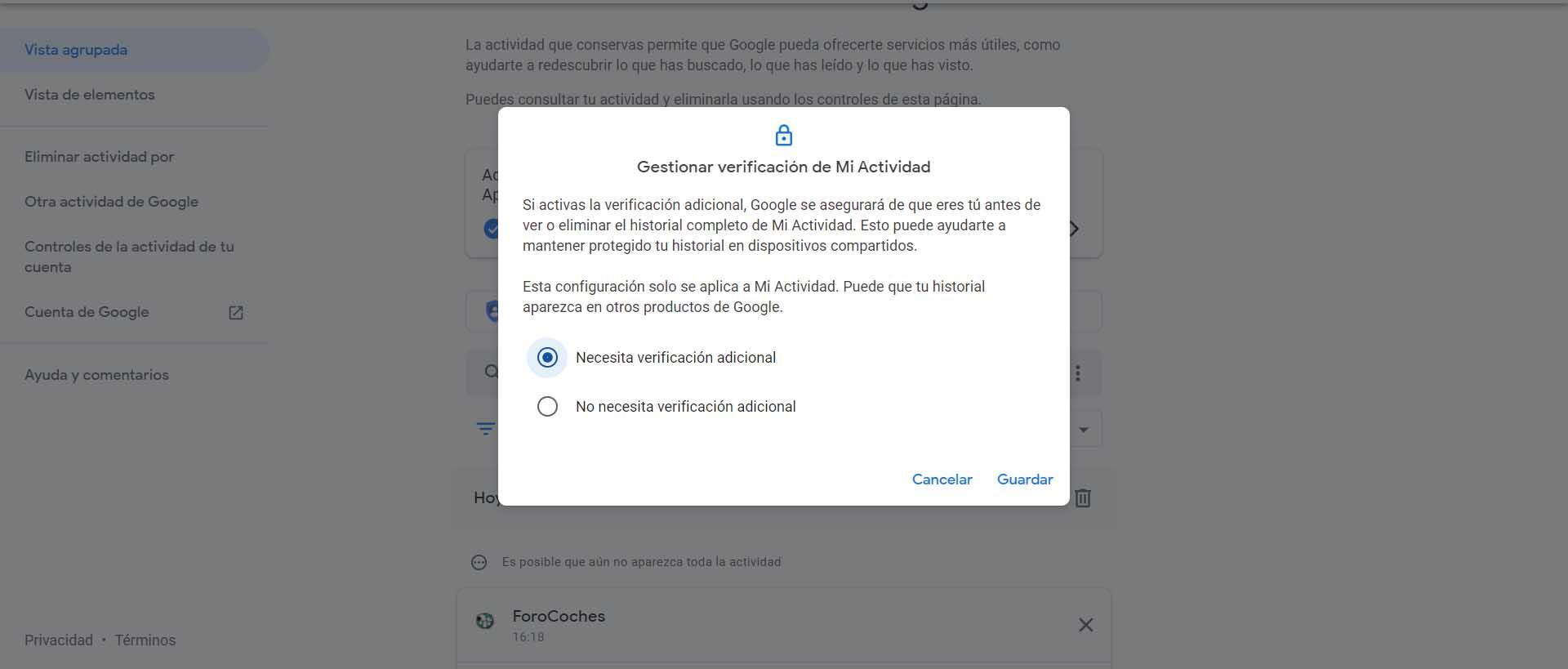 Verificación adicional Google