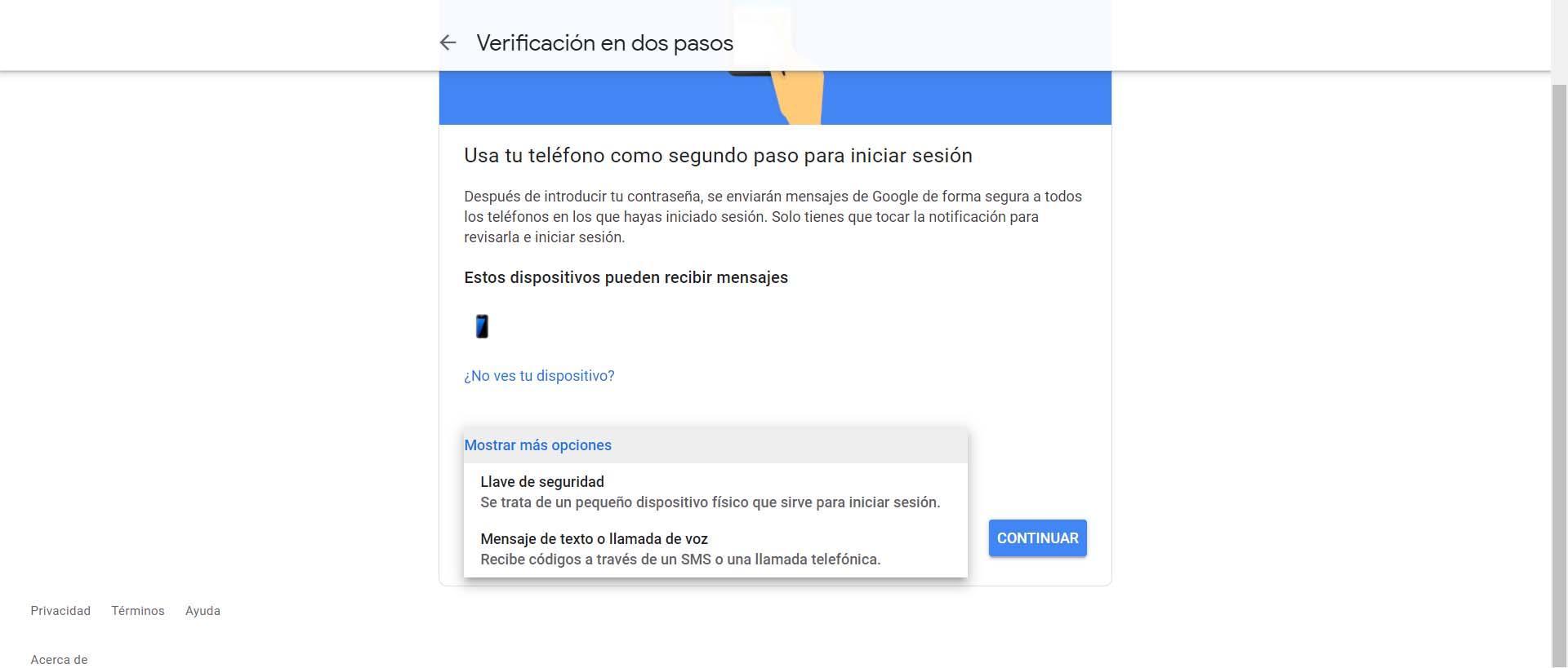 Verificación en dos pasos de Google