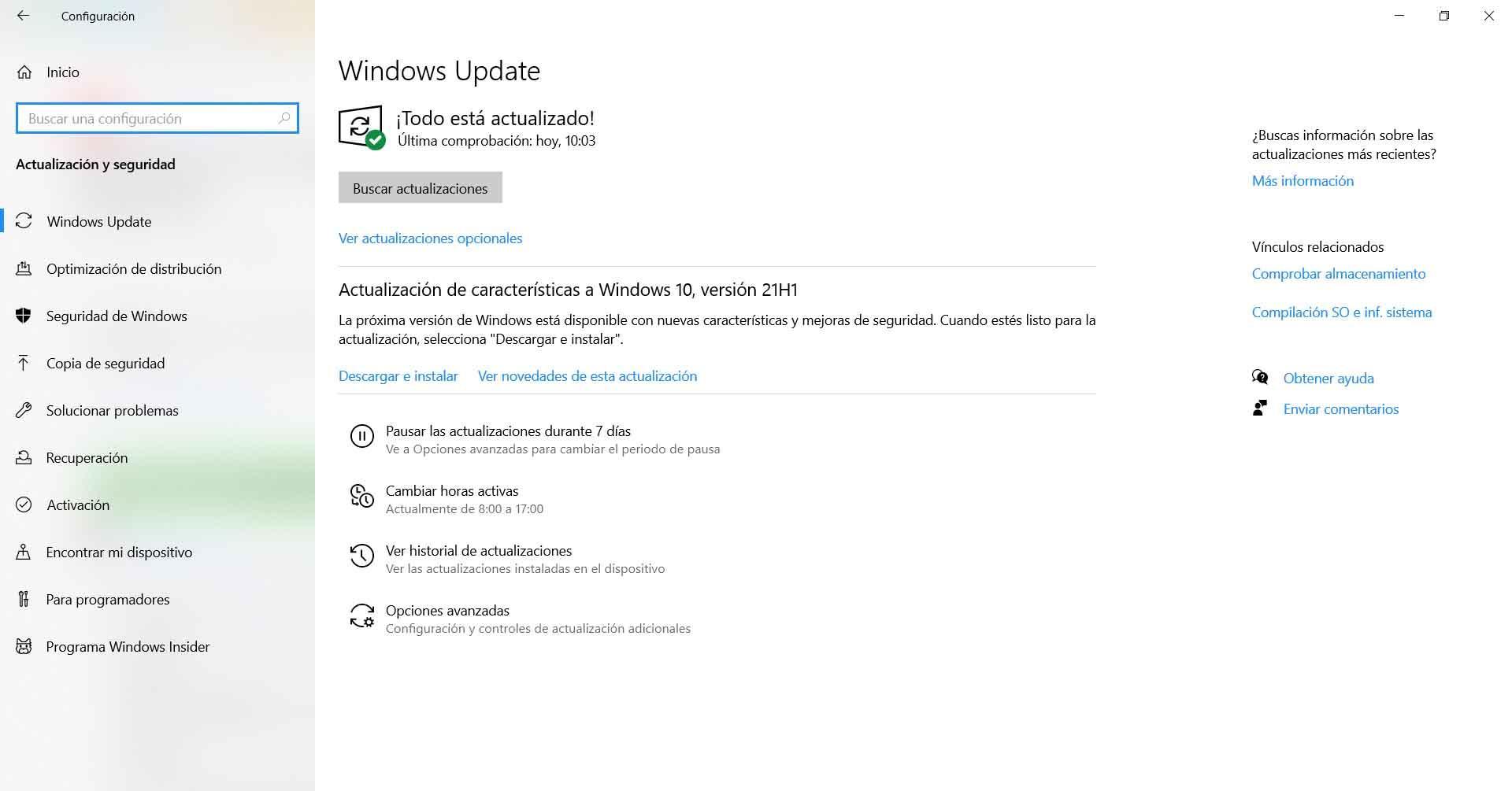 Buscar actualizaciones en Windows