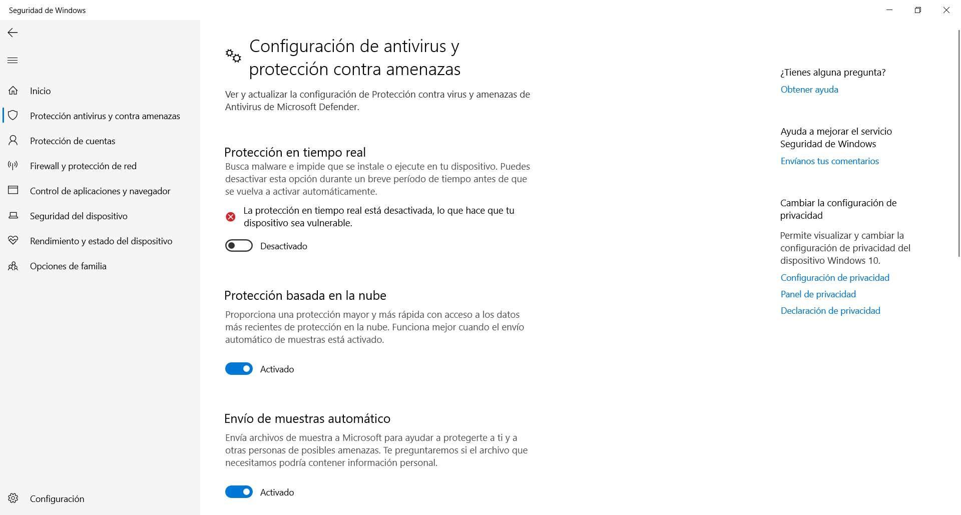 Reiniciar Windows Defender para evitar el error 0x800700