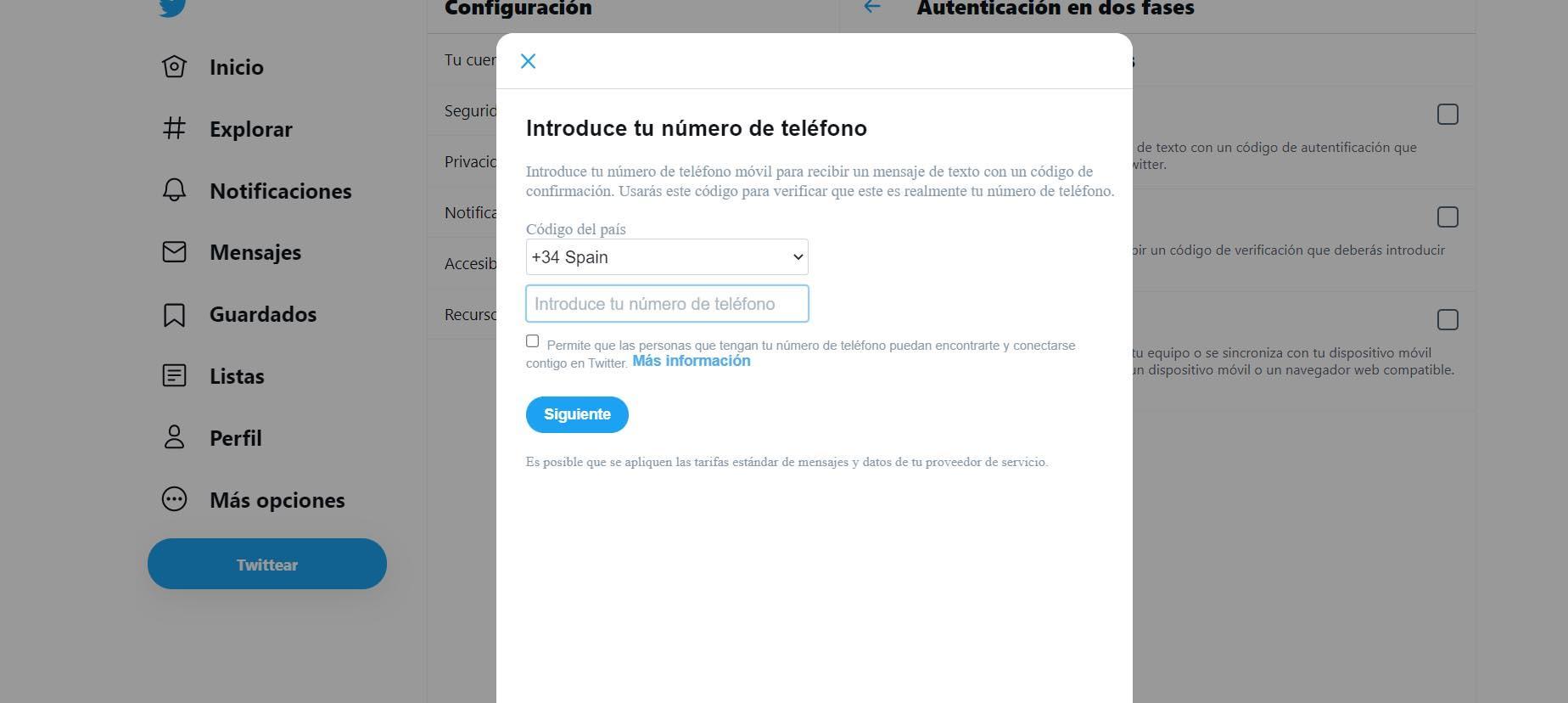 Poner el número de teléfono en Twitter