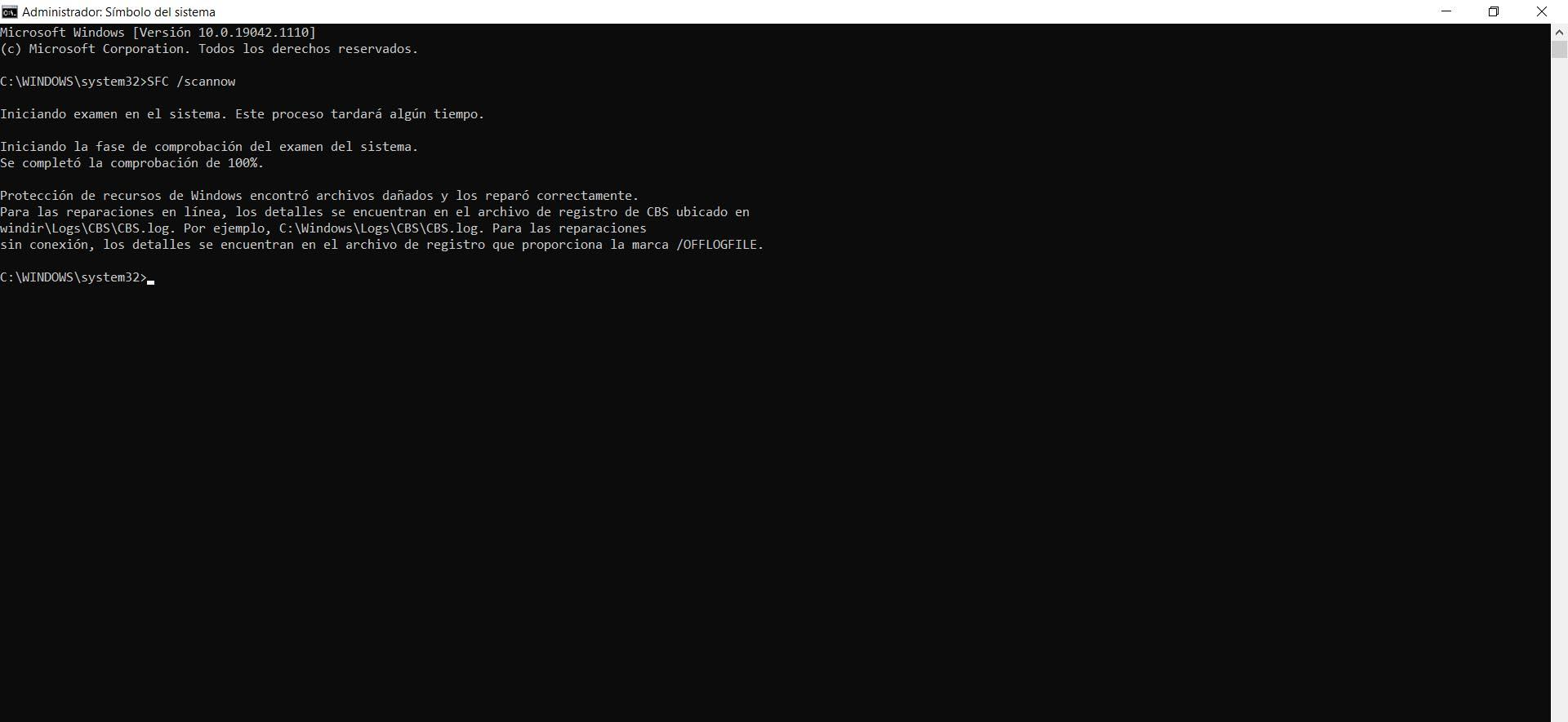 Reparar archivos en Windows