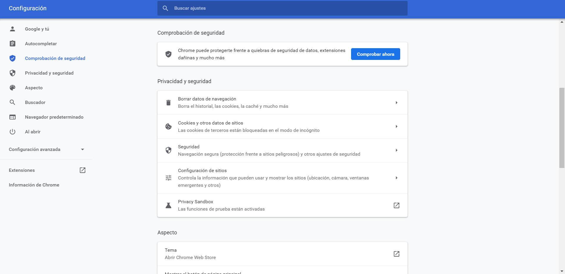 Comprobador de seguridad de Chrome
