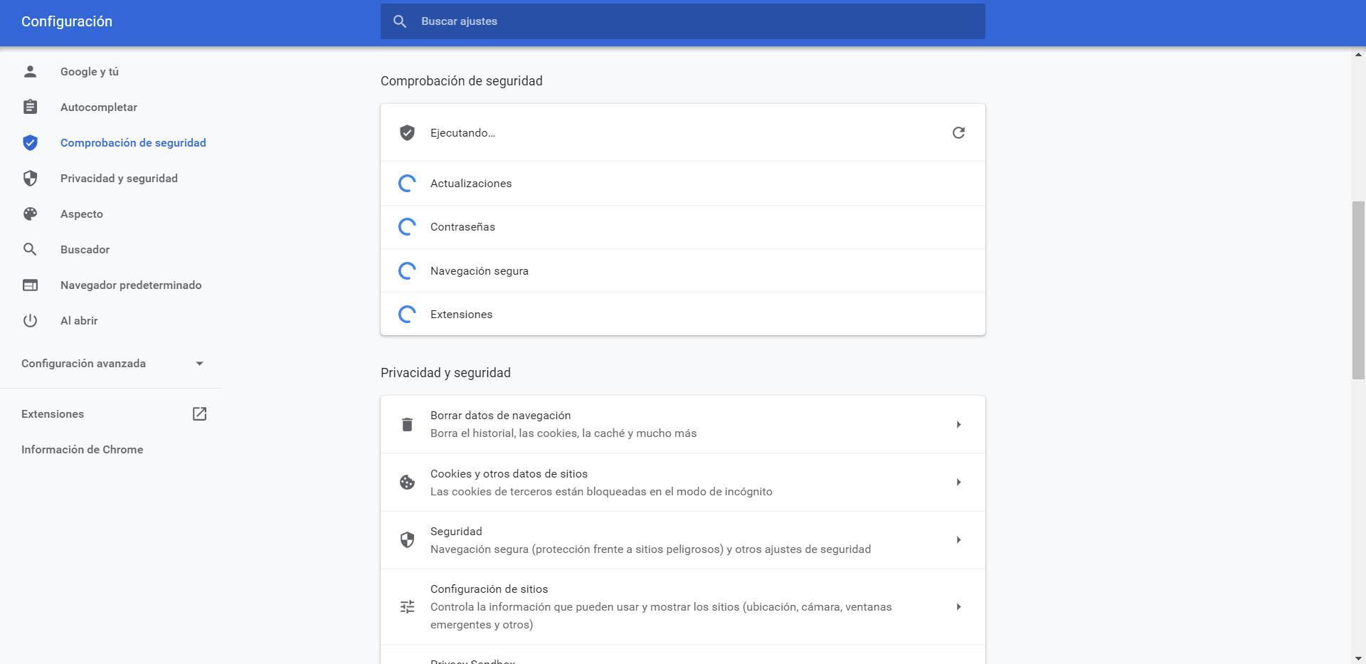 Proceso para verificar la seguridad en Chrome
