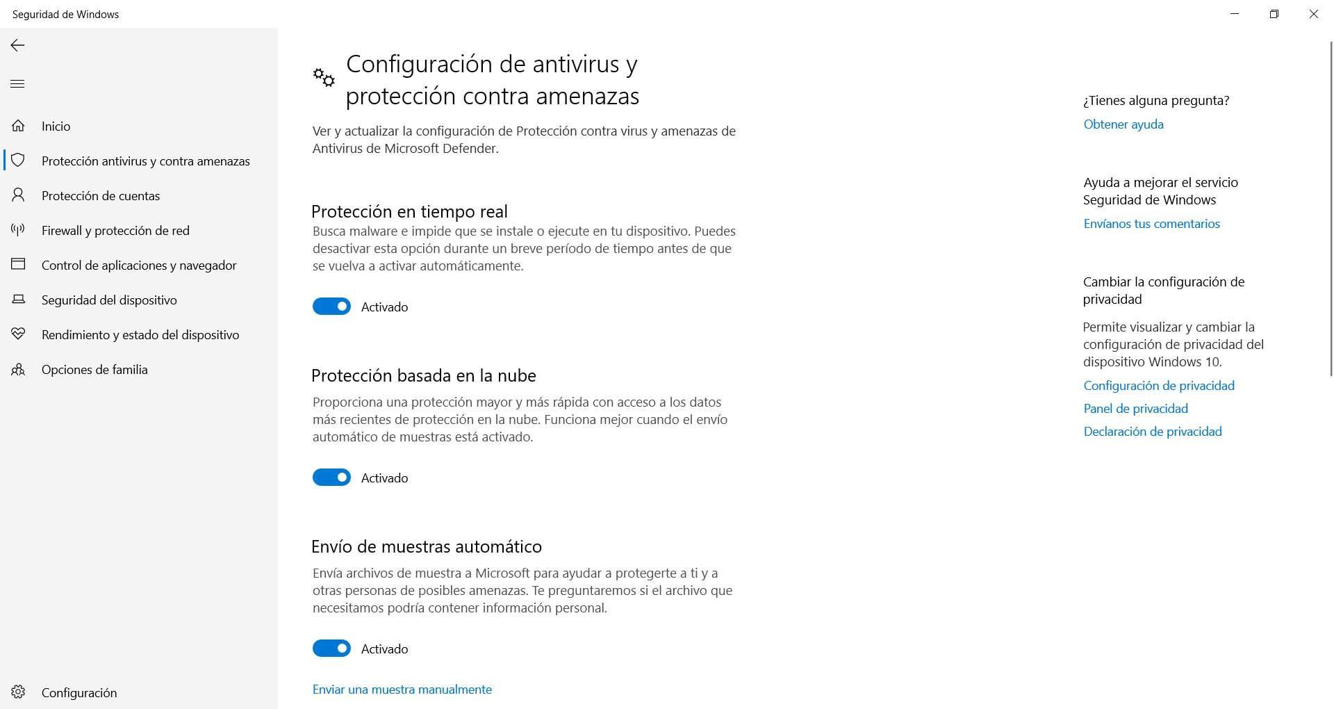 Protección de Windows Defender activada