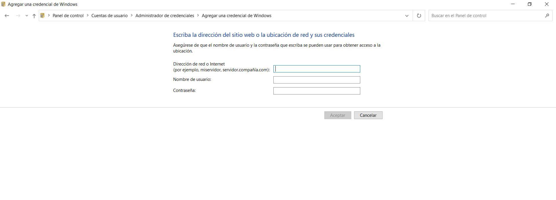 Agregar credencial en Windows
