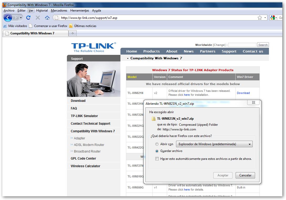 TP-LINK TL-WN821N : Instalación y configuración en Windows 7 (32