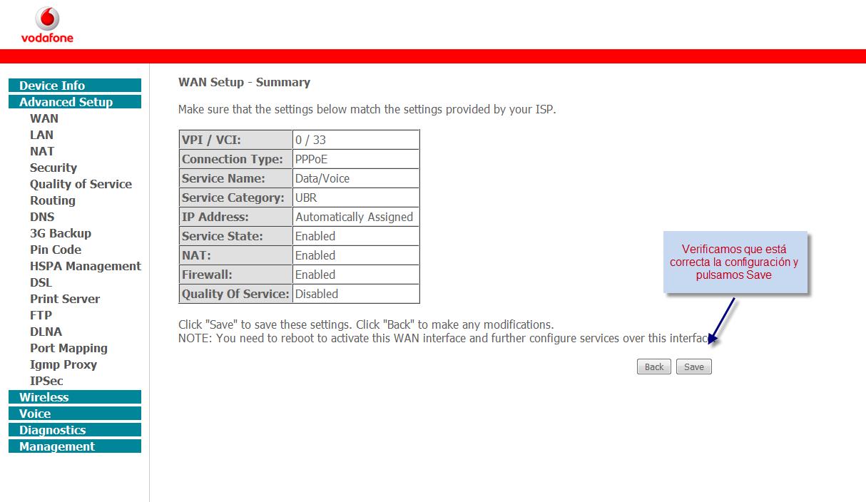 Clave administrador HG556a de Vodafone