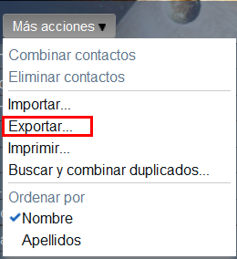 Exportar contactos Gmail