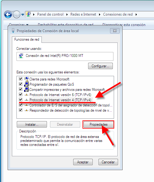 Ip Fija Windows7