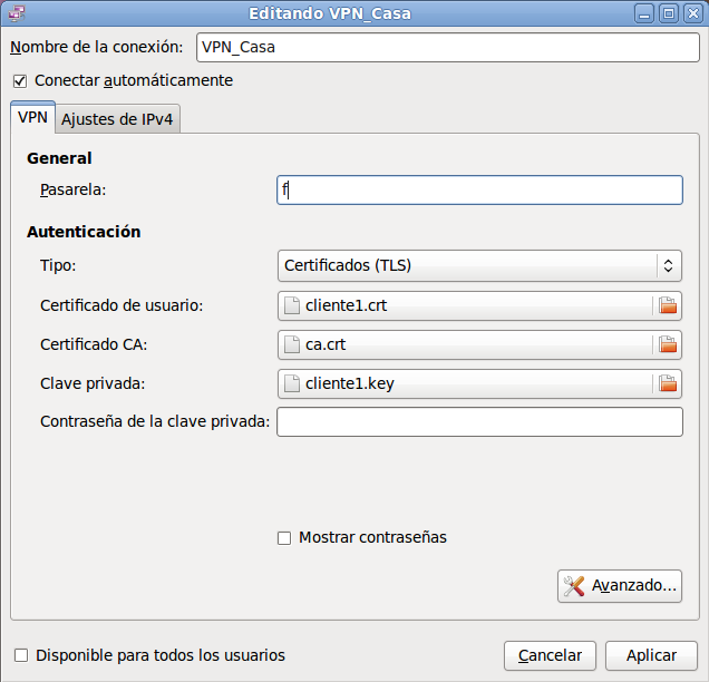 Network Manager OpenVPN